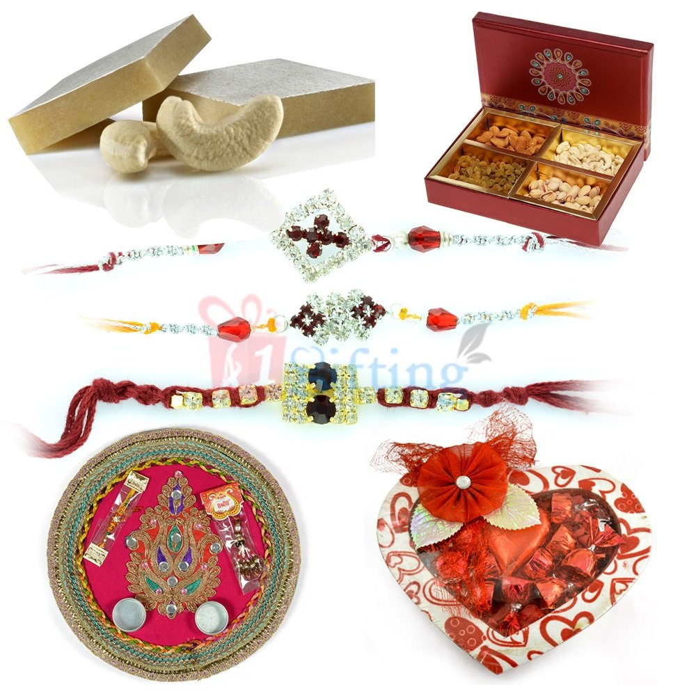 Beautiful Heart Shape Chocolate Gift Hamper for Rakhi