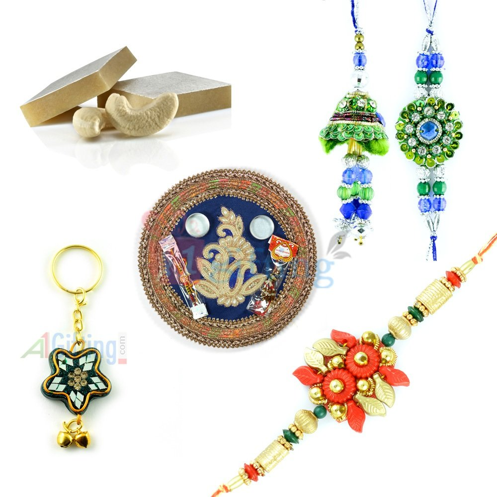 Star Lacquer Key Chain Rakhi Gift with Rakhi Thali and Sweets