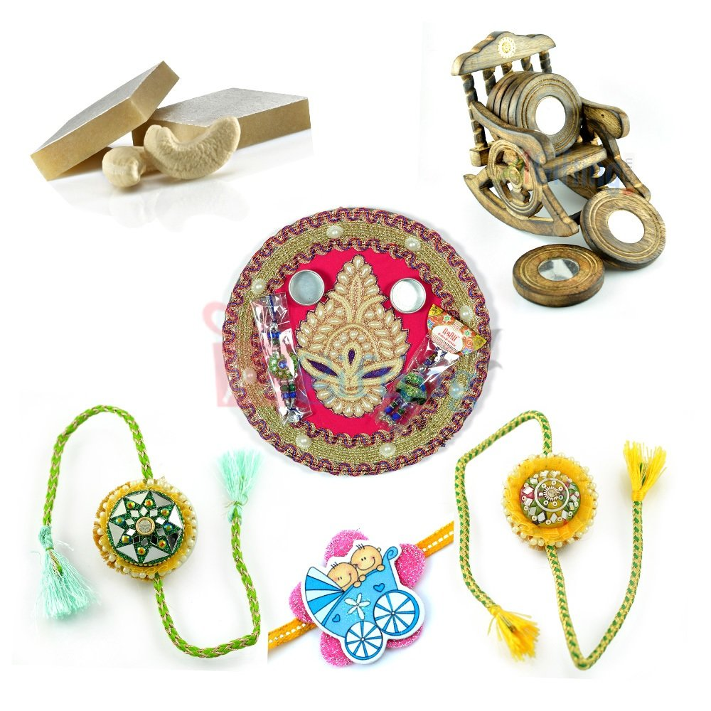 Beautiful Tea Coaster Sweet Rakhi Thali Gift