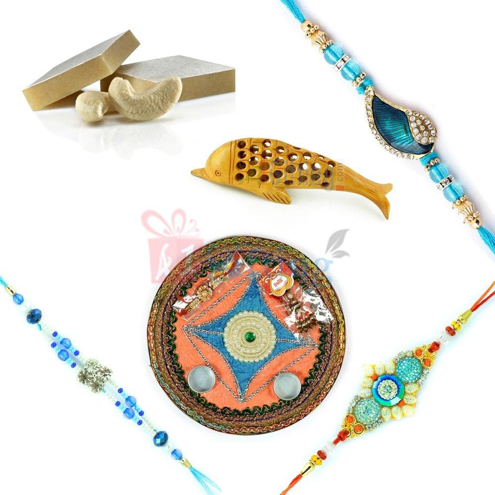 Wonderful Rakhi Thali Handicraft Gift with Sweets and Rakhis