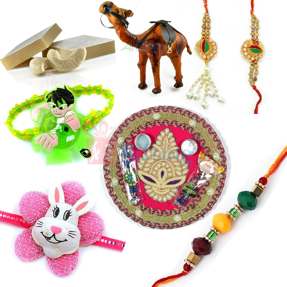 Amazing Rakhi Gift with Handicraft Camel and Rakhi Thali with Sweet
