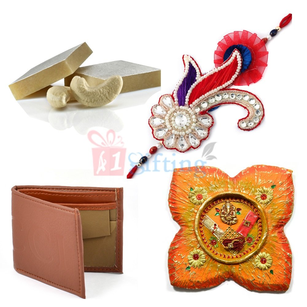 Excellent Rakhi for Brother with Wallet Sweets and Rakhi Thali