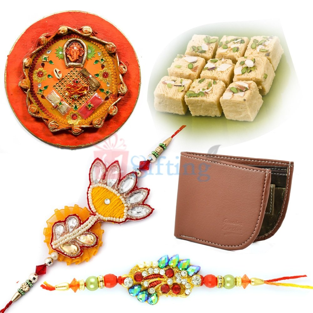 Official Wallet Gift for Brother with Sweet Rakhi Thali and Rakhis