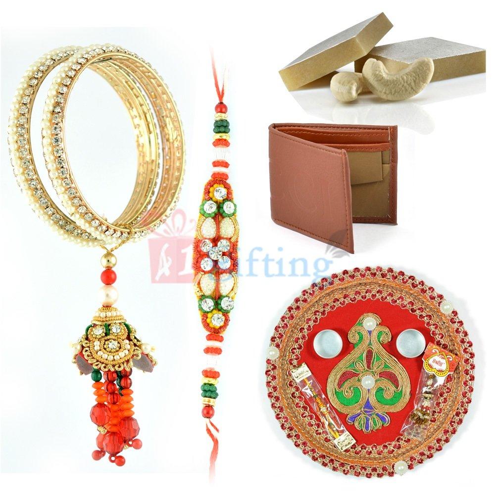 Superb Rakhi Gift for Brother with Pooja Thali Sweet Wallet and Rakhis