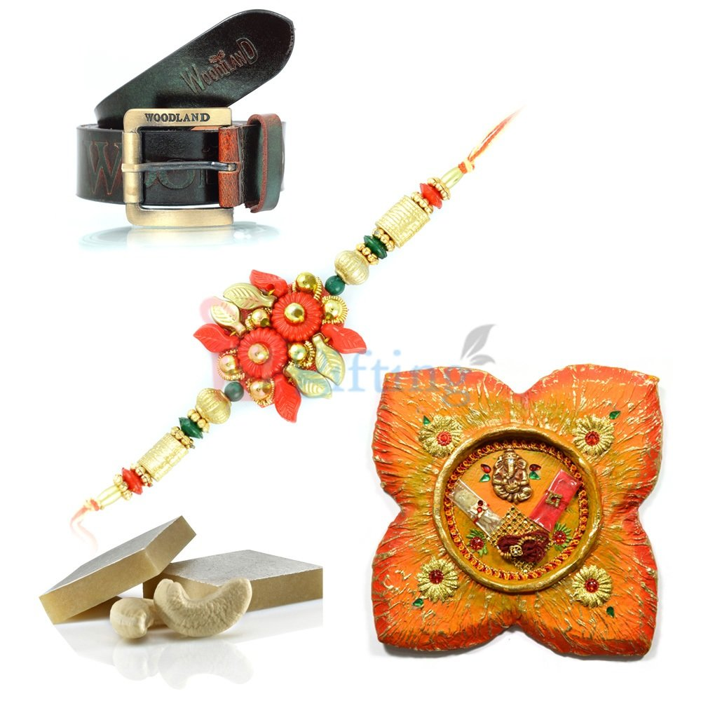 Nice Rakhi Gift for Brother Leather Belt