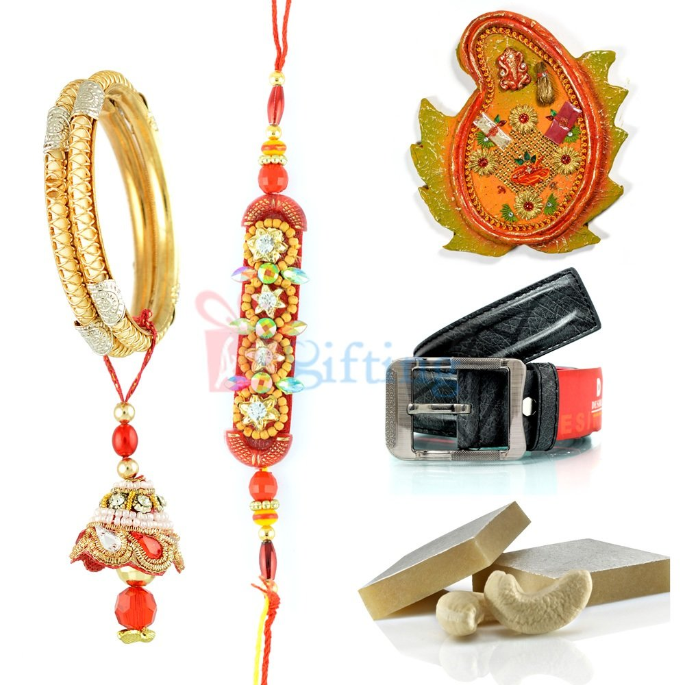 Excellent Rakhi Gift for Brother with Belt Sweet and Pooja Thali