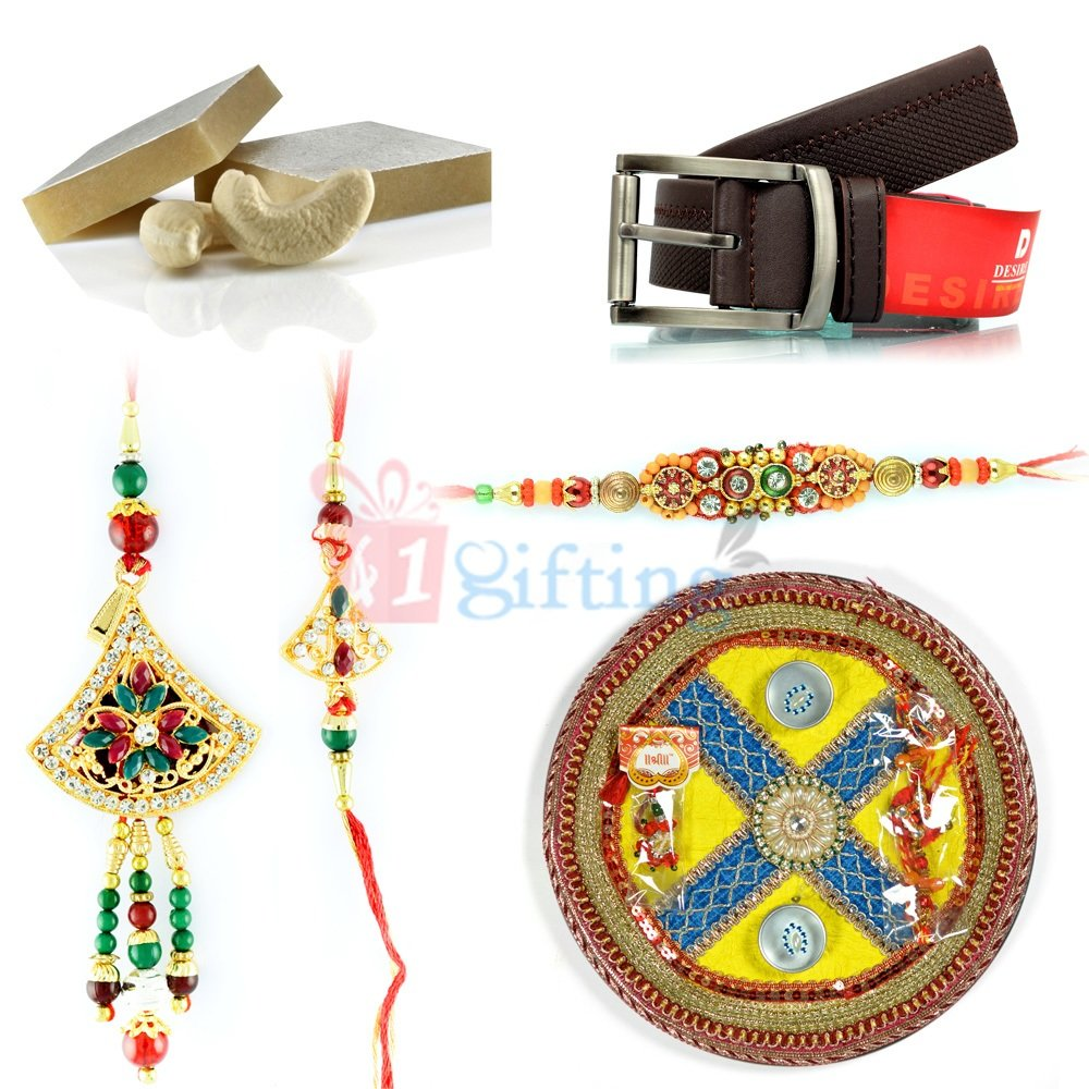 Pooja Rakhi Thali Gift for Brother with Sweets and Belt