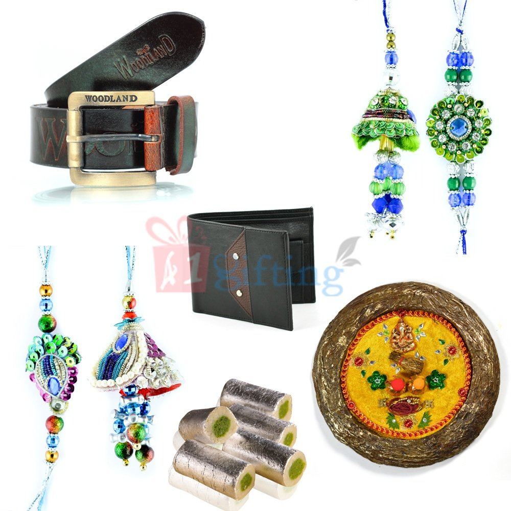 Superb Rakhi Gift for Brother with Pooja Thali Gift and Rakhi Pairs