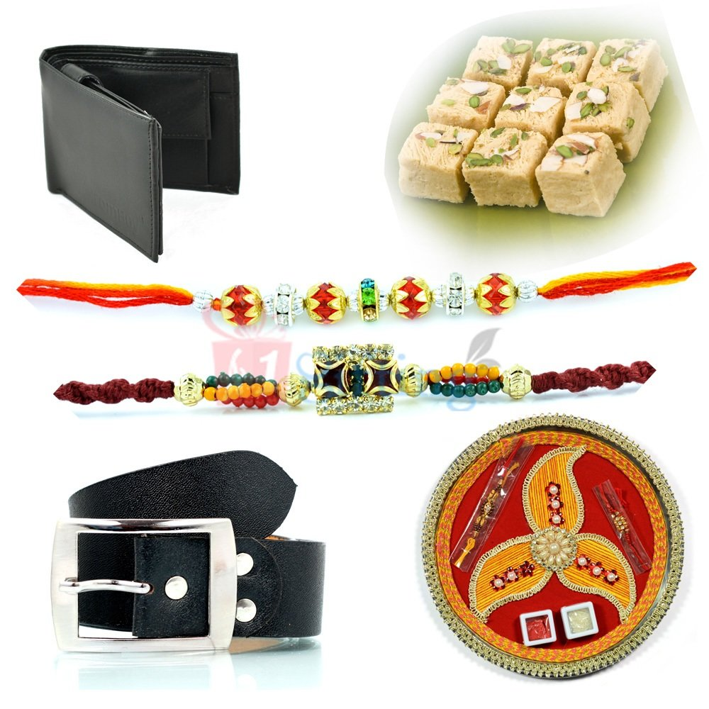 Awesome Rakhi Pooja Thali Gift Hamper for Brother with Sweet Belt and Wallet