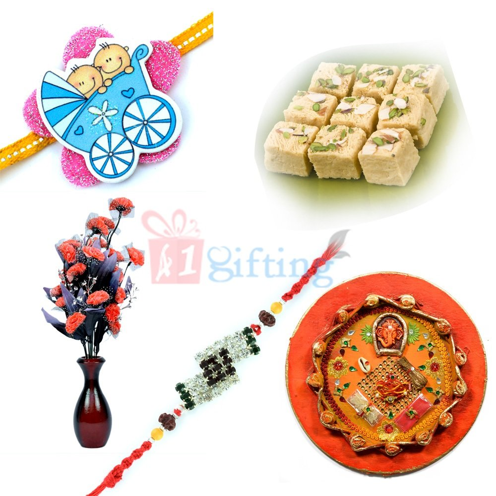 Exclusive Rakhi Gift for Brother with Sweet Pooja Thali and Rakhis
