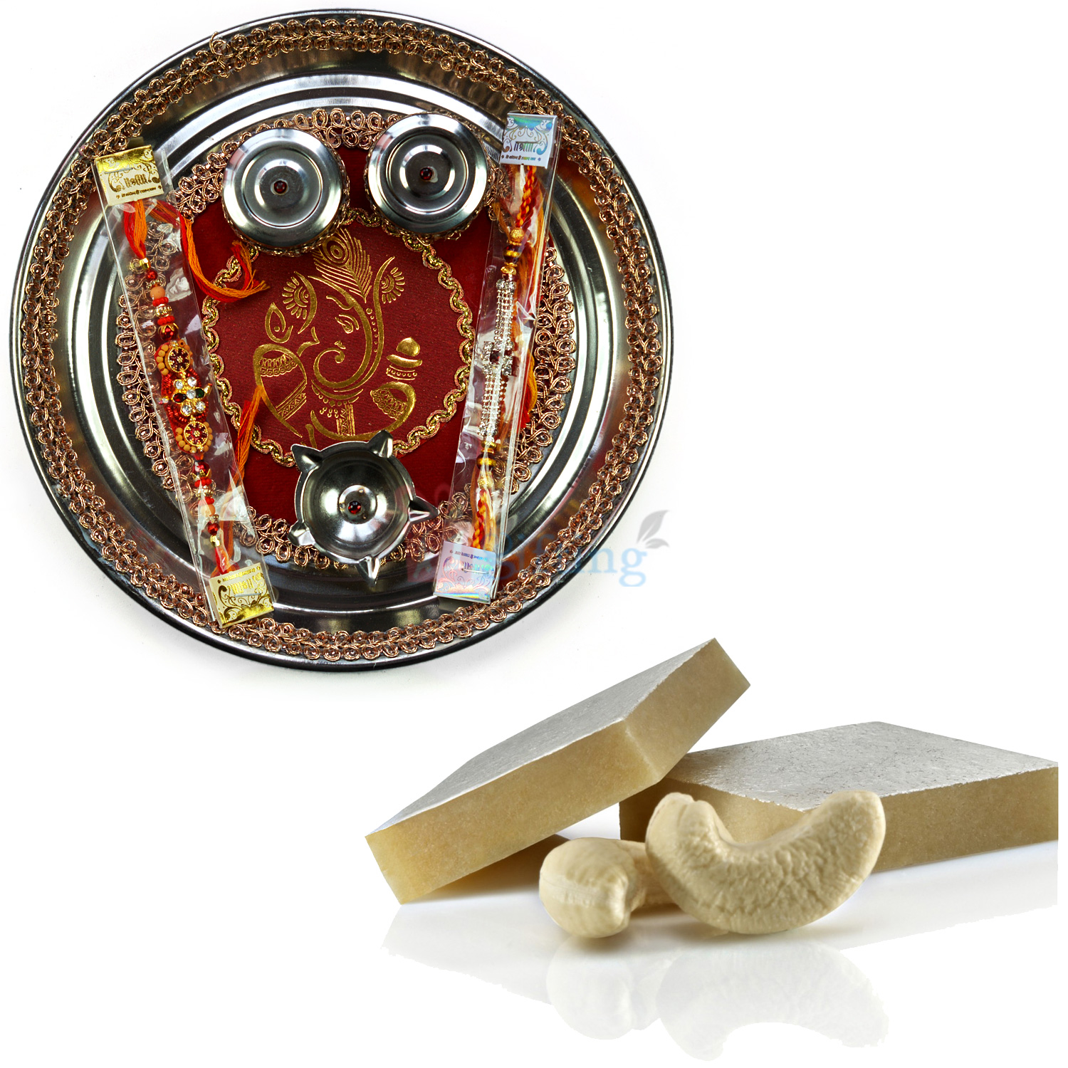 Golden Ganesha Rakhi Thali and Kaju Katli Combo
