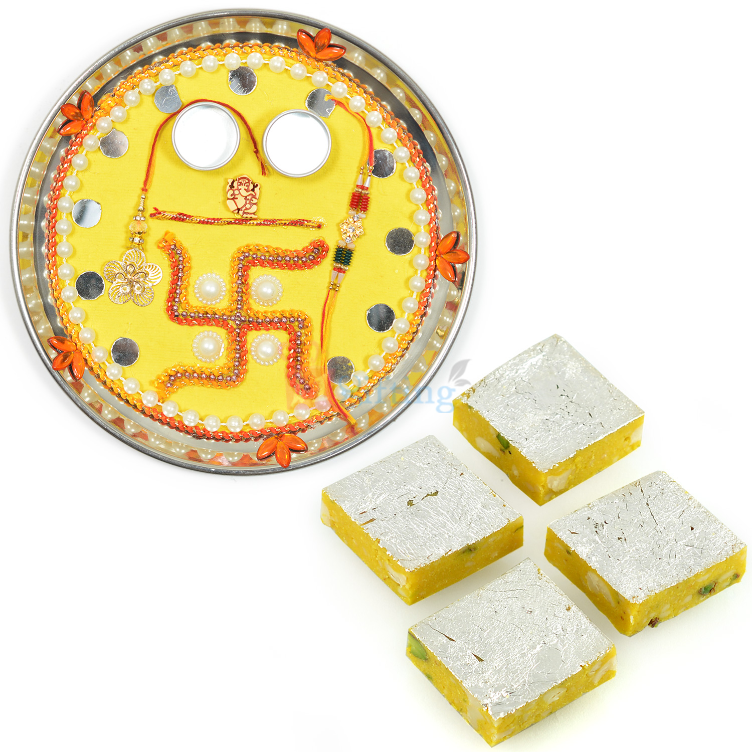 Yellow Base Swastik Rakhi Thali with Kaju Kesar Barfi
