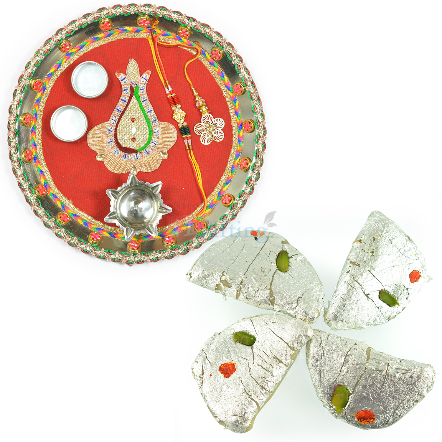 Kaju Gujia Sweet and Kalash Nariyal Rakhi Thali Hamper