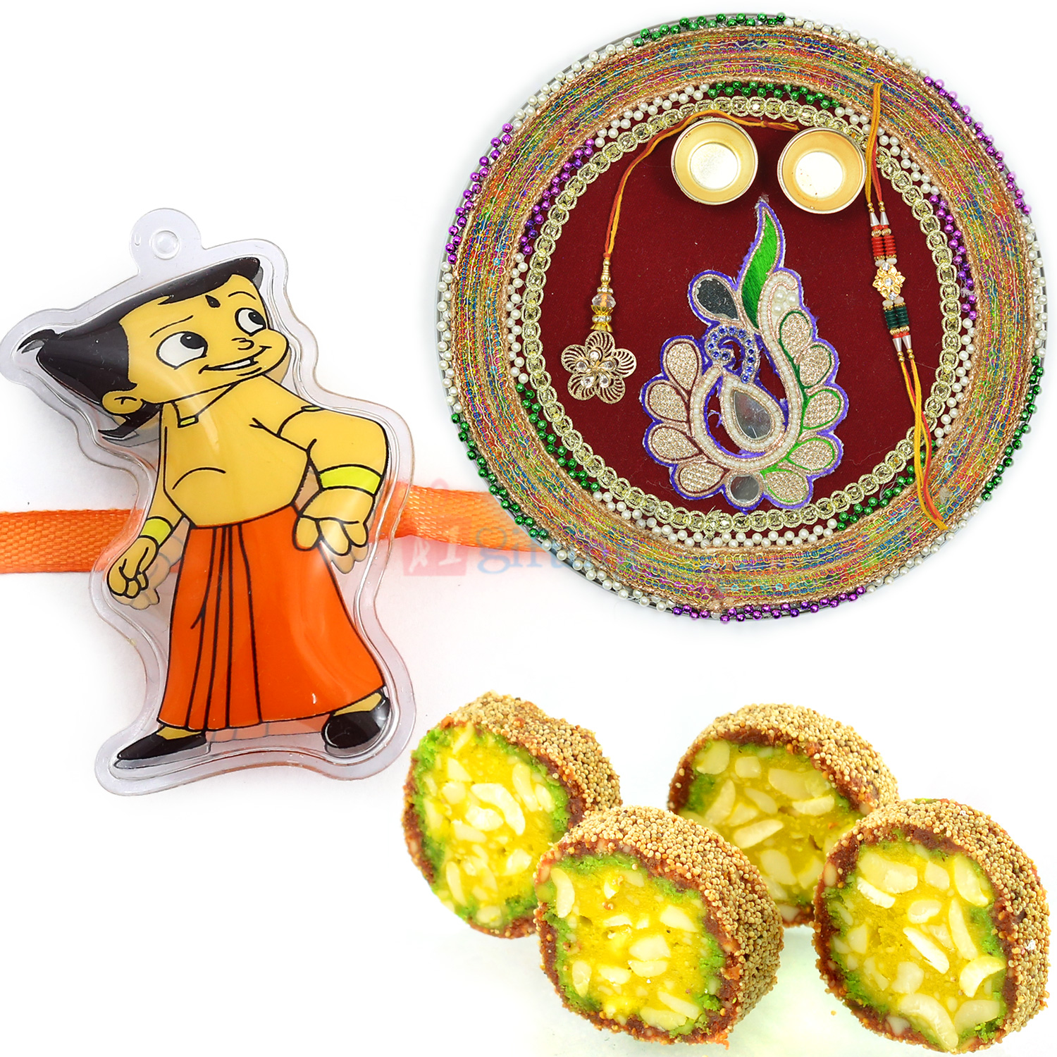 Rakhi Thali Kaju Anjeer King Sweet and Kids Rakhi Hamper