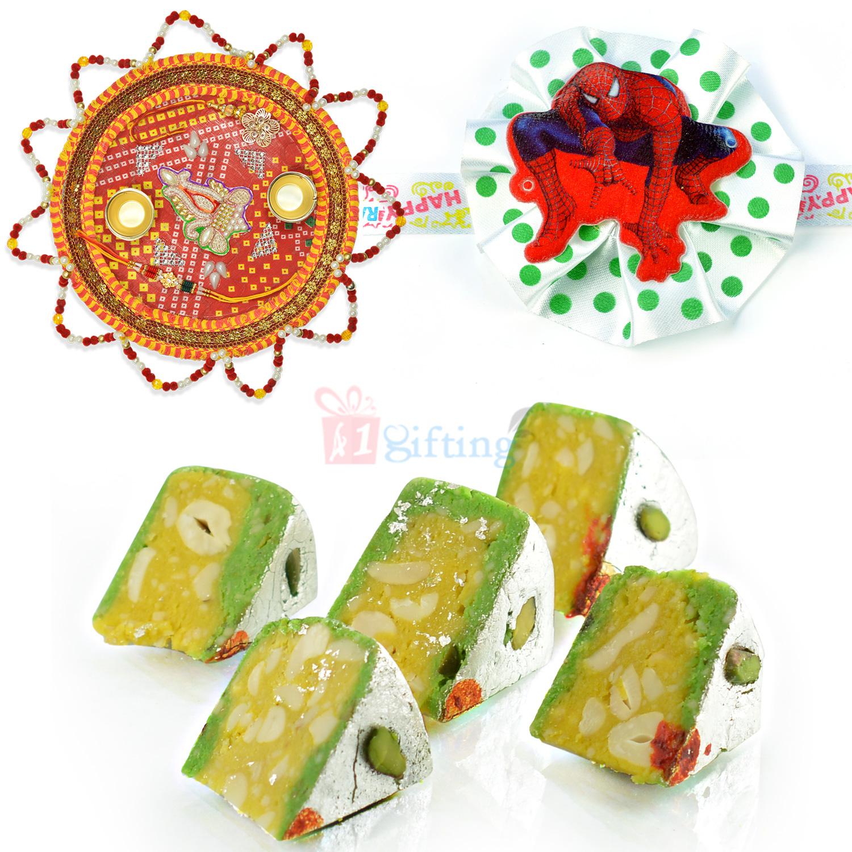Kaju Diamond Cake with Rakhi Thali n Kids Rakhi Hamper