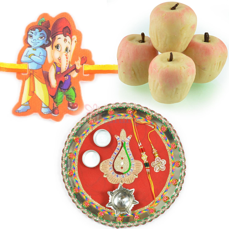 Kaju Apple Sweet with Steel Rakhi Pooja Thali and Kids Rakhi Hamper