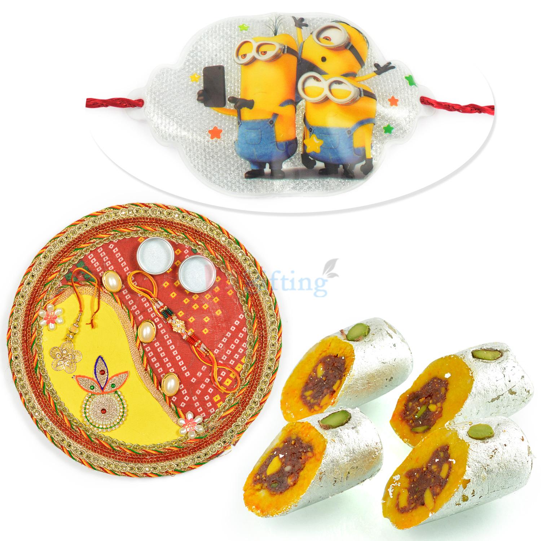 Kaju Honey Due Sweet n Rakhi Thali Hamper with Kids Rakhi