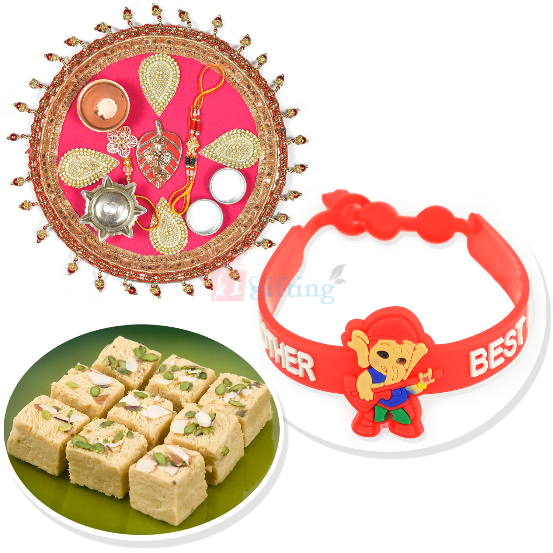 Designer Leafy Ganesha Rakhi Thali with Soan Papdi n Kids Rakhi Hamper