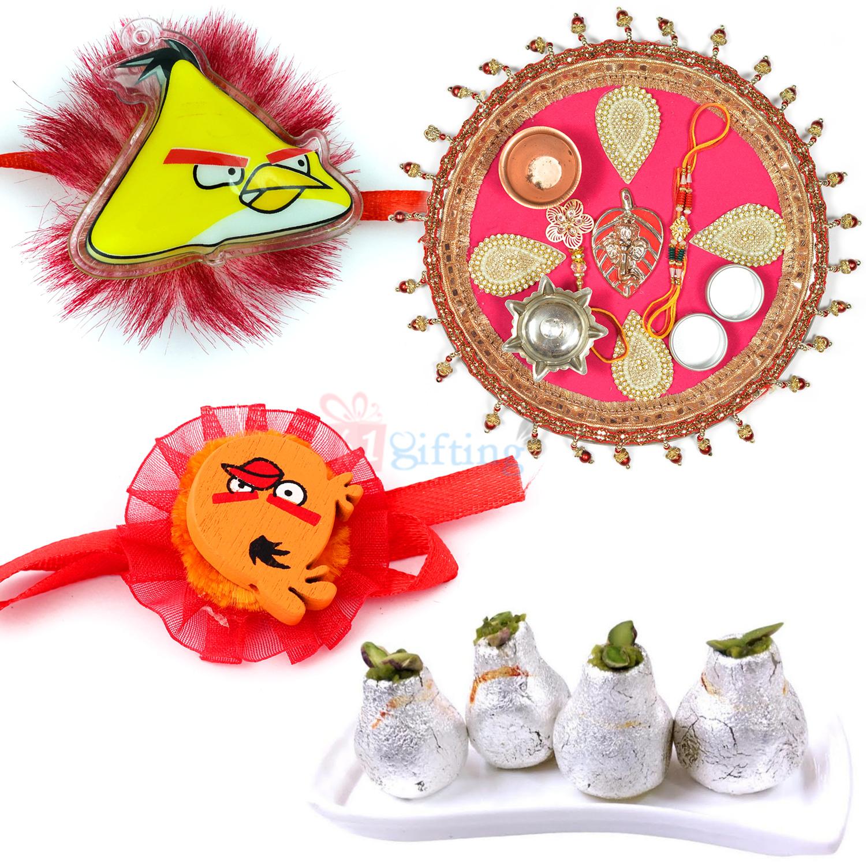 Jhoomar Designer Rakhi Thali Kaju Kalash n Kids Rakhi Hamper