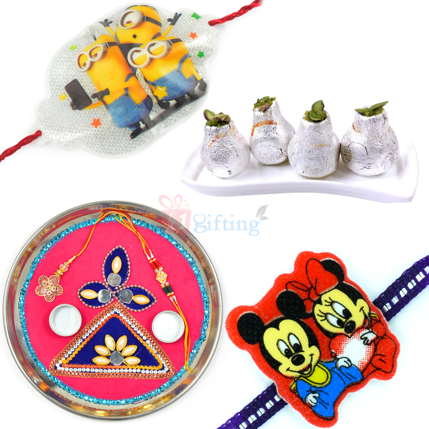 Kaju Kalash and Designer Rakhi Thali Combo with Kids Rakhi Set