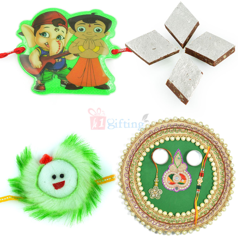 Kaju Chocolate Katli with Pearl Rakhi Thali Hamper with Kids Rakhis