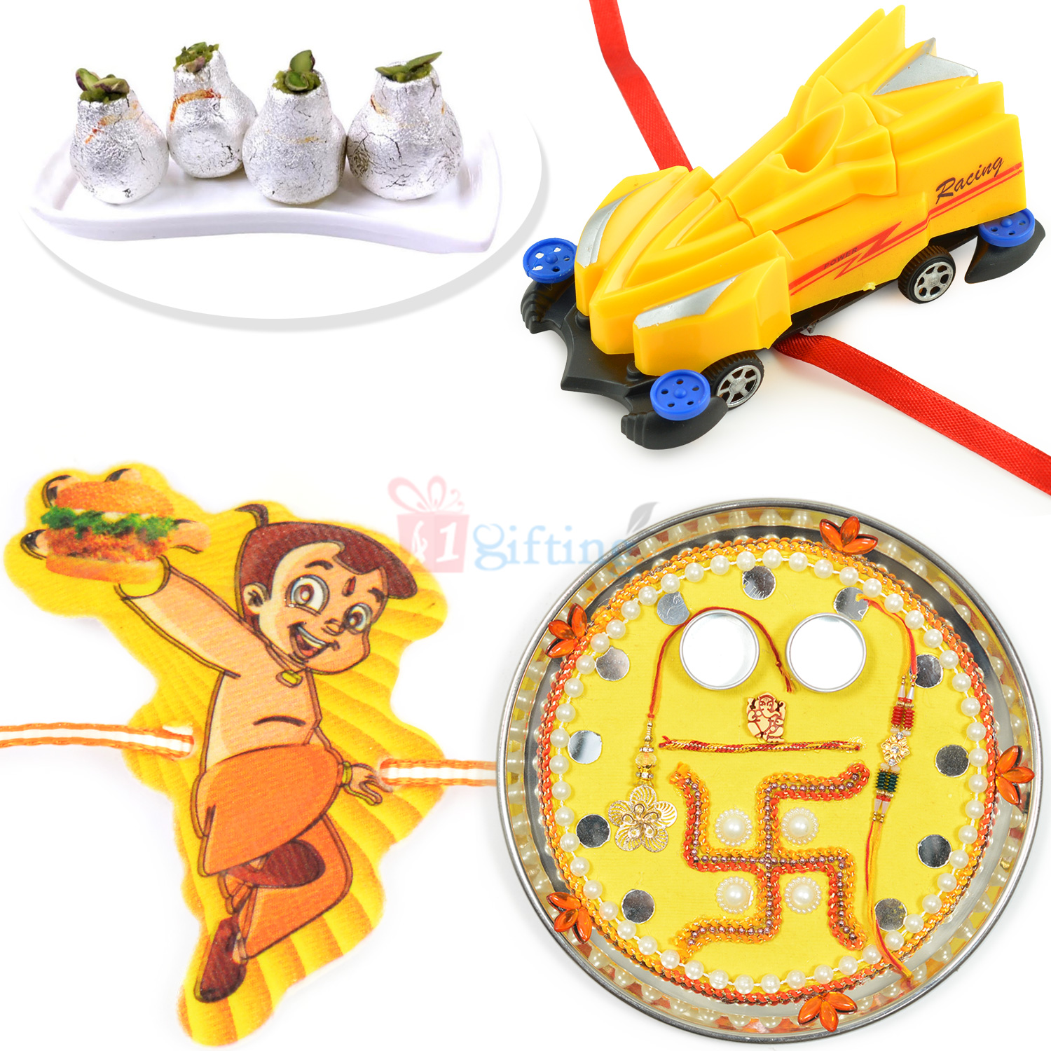 Rakhi Pooja Thali Kaju Kalash Hamper with 2 Trendy Kids Rakhis