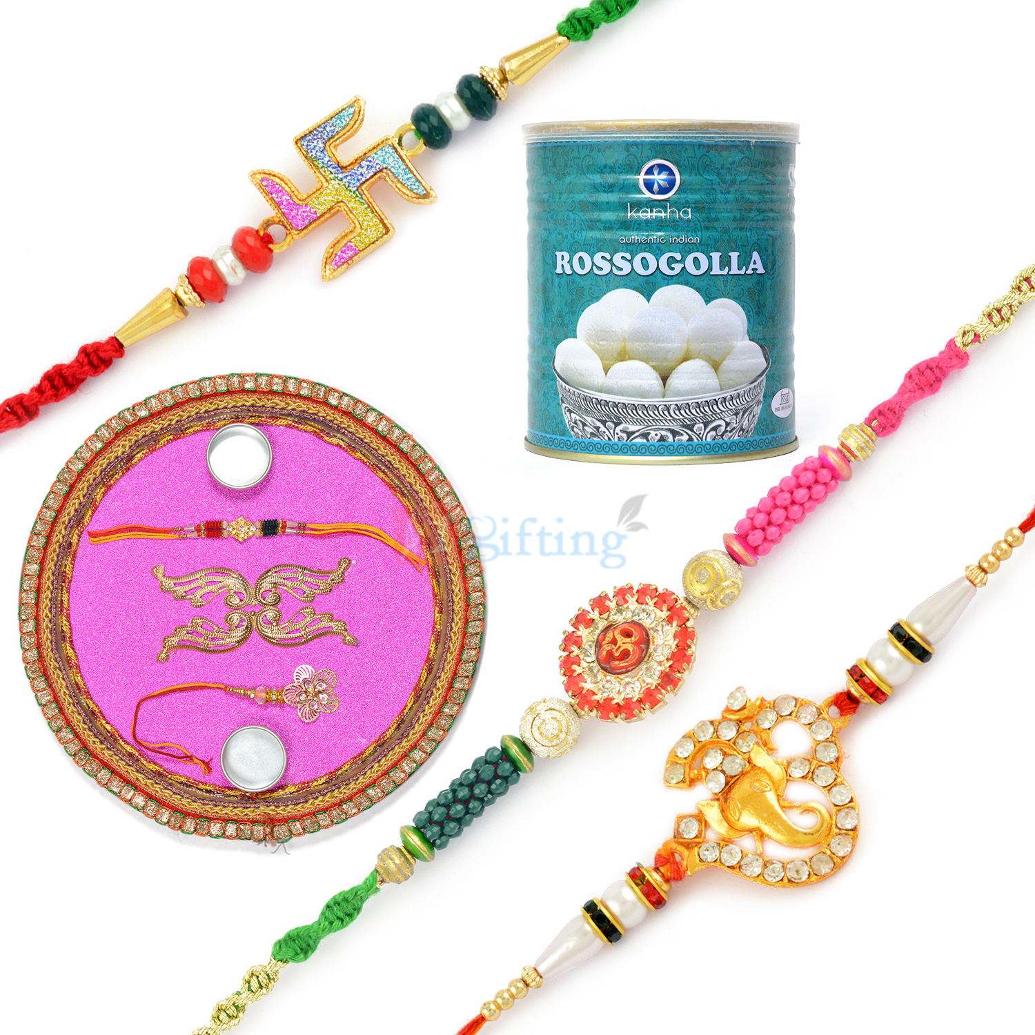 Rakhi Thali Sweet Hamper with 3 Auspicious Rakhis