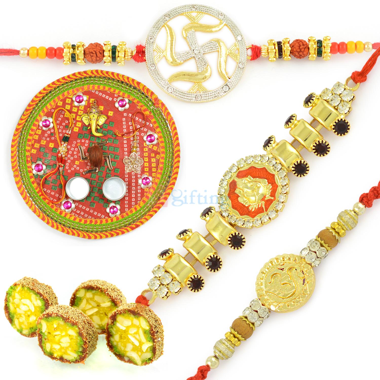 Mauli Rakhi Thali Anjeer King n 3 Exclusive Rakhis Hamper