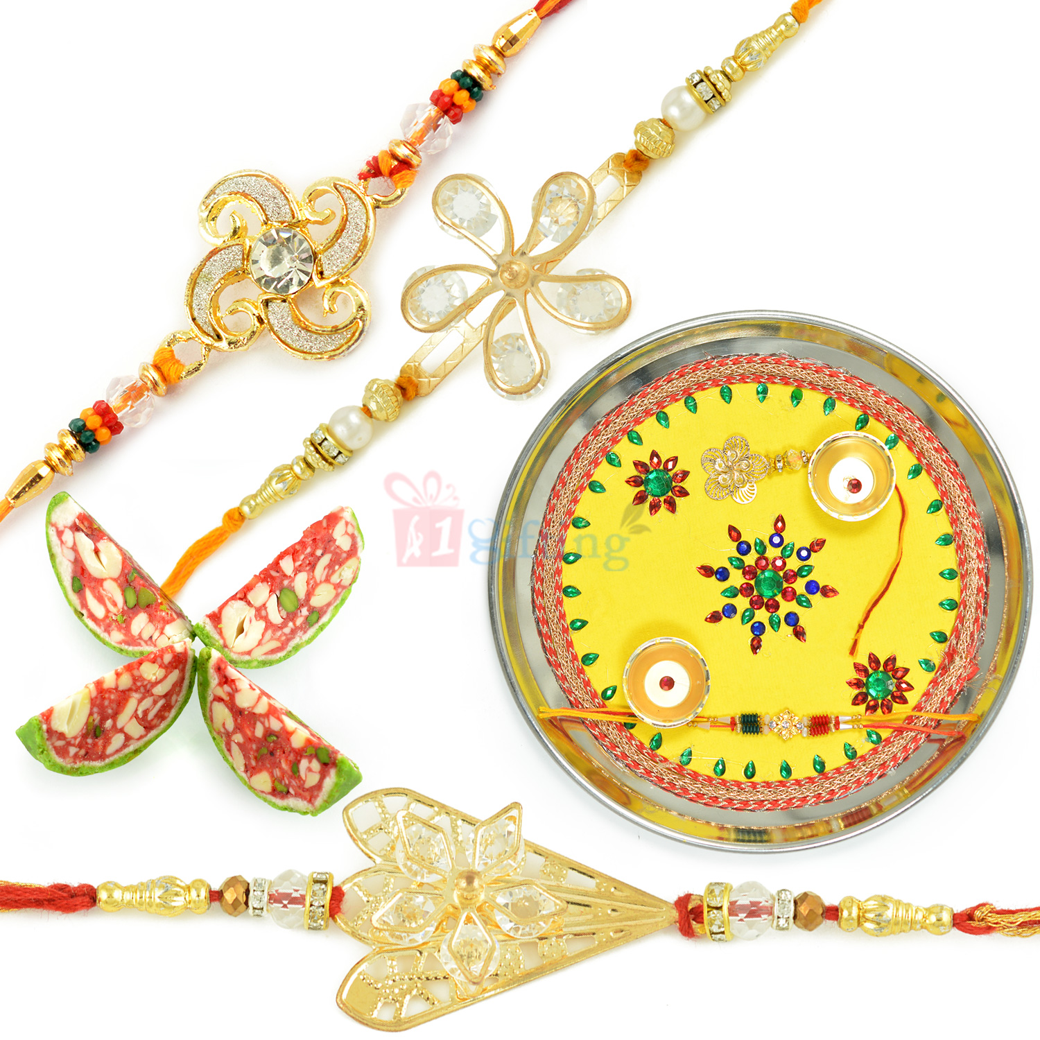 Kaju Tarbooj Mithai with Painted Rakhi Thali and 3 Exclusive Rakhi Hamper