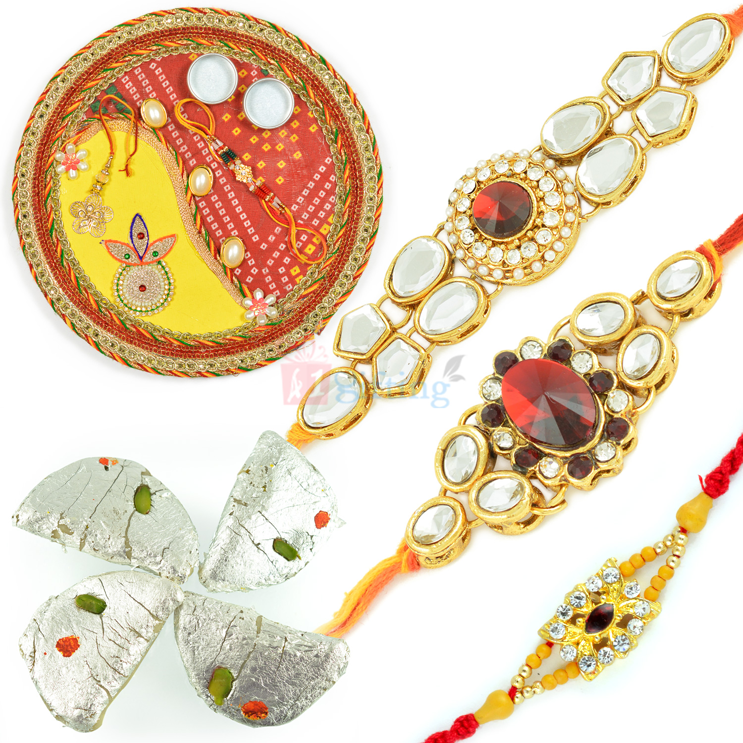 Dearest 3 Brother Rakhi with Rakhi Thali n Kaju Gujia Hamper
