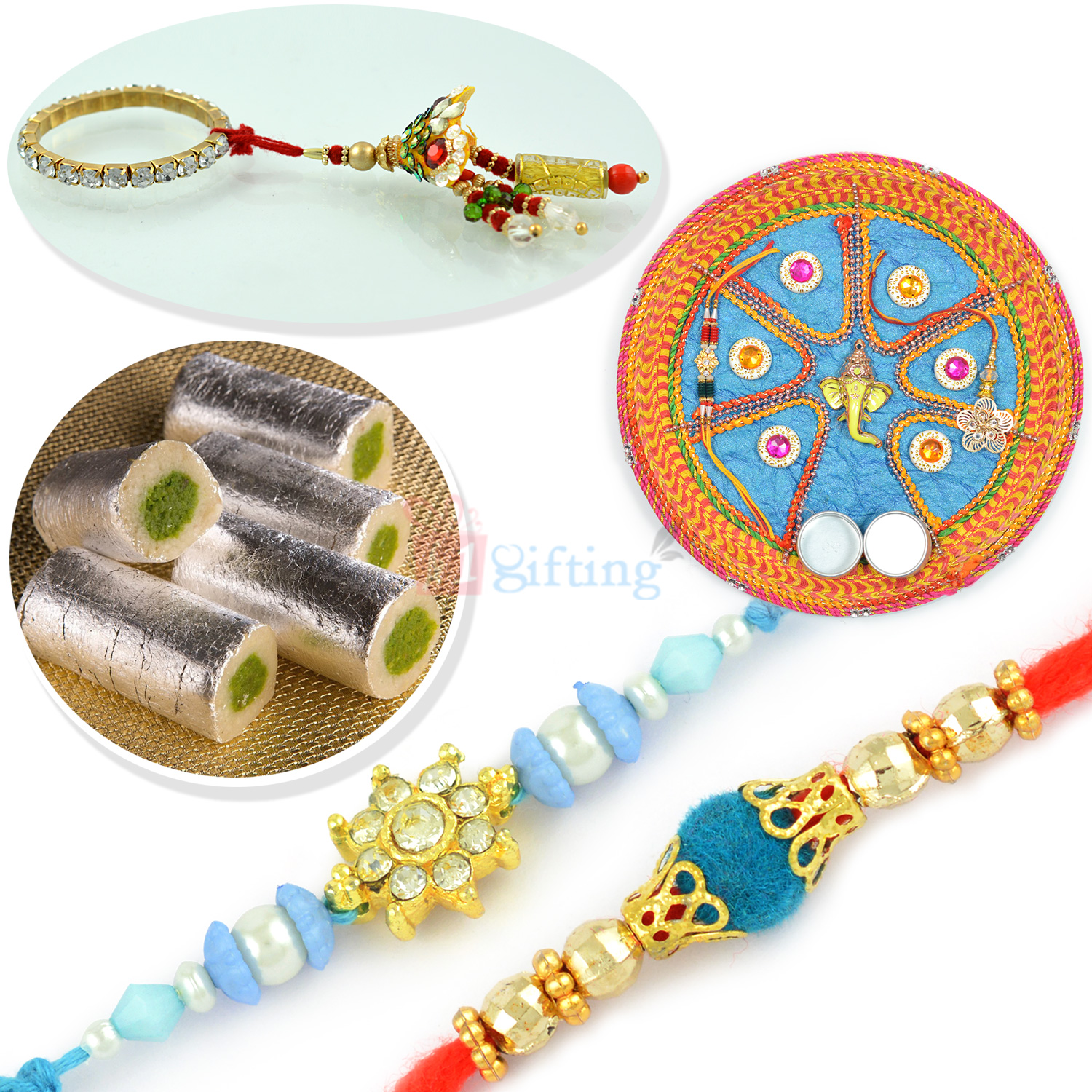 Kaju Roll Special Rakhi Thali with 2 Brother n 1 Lumba Rakhi Hamper