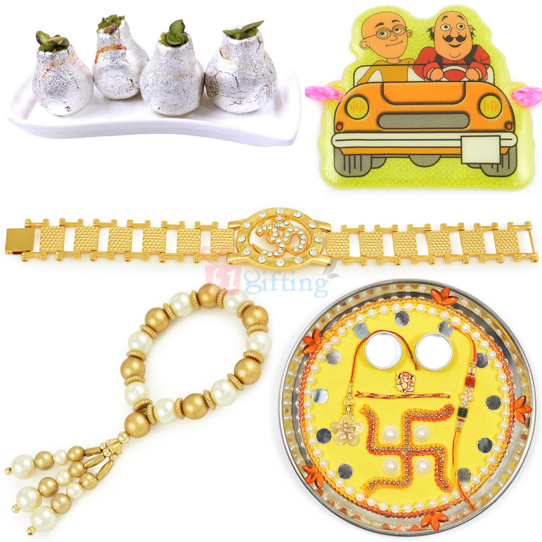 Special Rakhi Thali Kaju Sweet and Family Rakhi Hamper