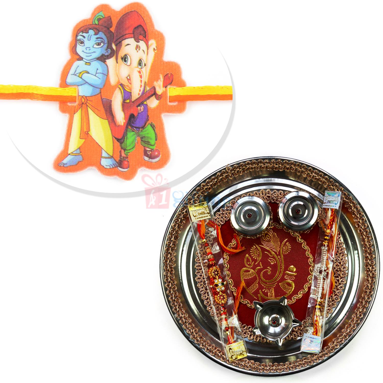 Golden Ganesha Rakhi Pooja Thali with Beautiful Kids Rakhi