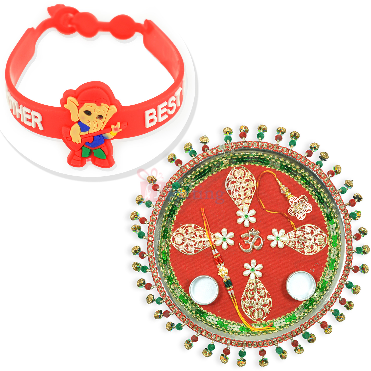Golden OM Ghunghru Rakhi Thali n Best Brother Kids Rakhi Hamper
