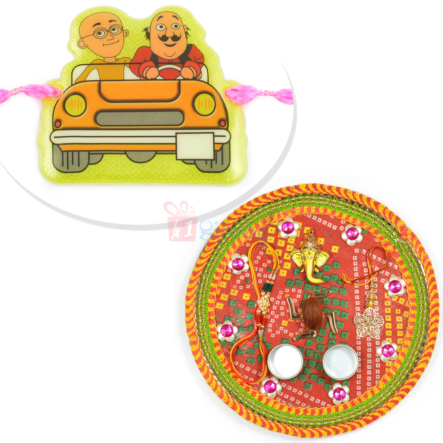 Special Mauli Rakhi Thali and Trendy Kids Rakhi Hamper