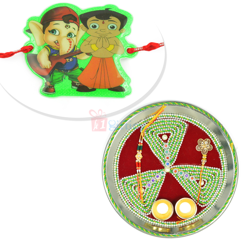 Triangle Tirangi Rakhi Thali and Kids Rakhi Hamper