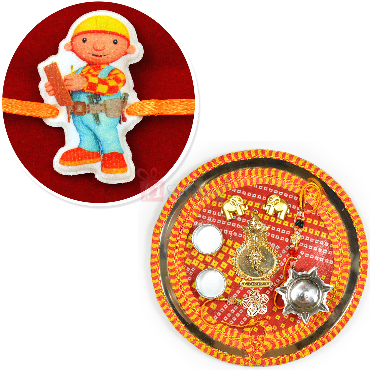Mauli Theme Steel Rakhi Pooja Thali and Engineer Kids Rakhi Hamper