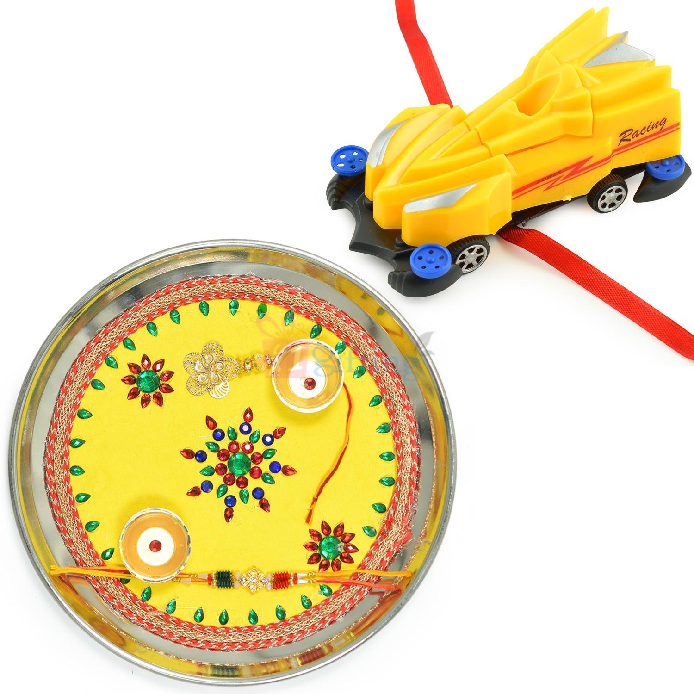 Painted Rakhi Pooja Thali and Mighty Car Kids Rakhi Hamper