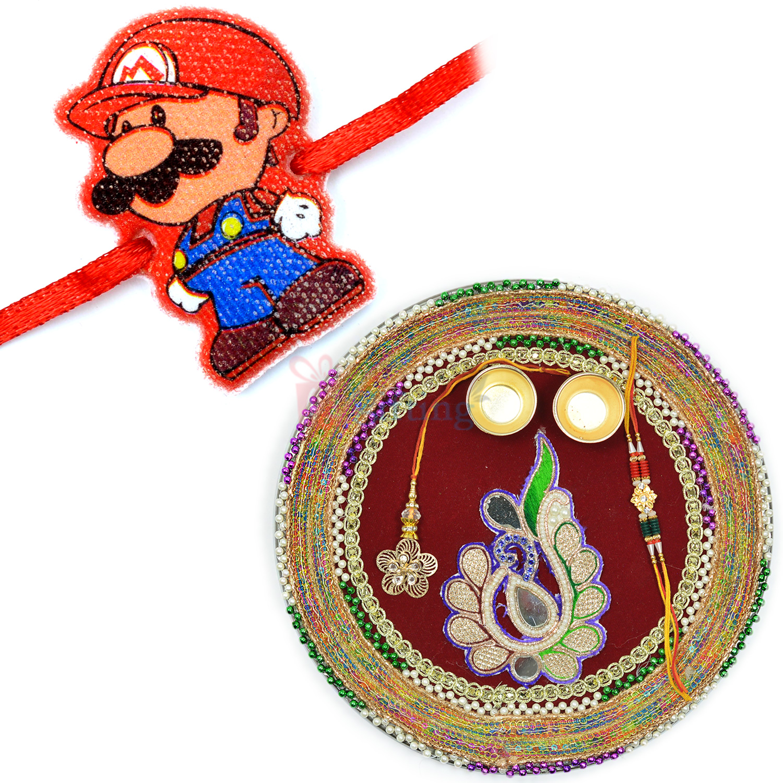 Mario Cartoon Kids Rakhi and Zardosi Gotta Work Rakhi Thali Hamper