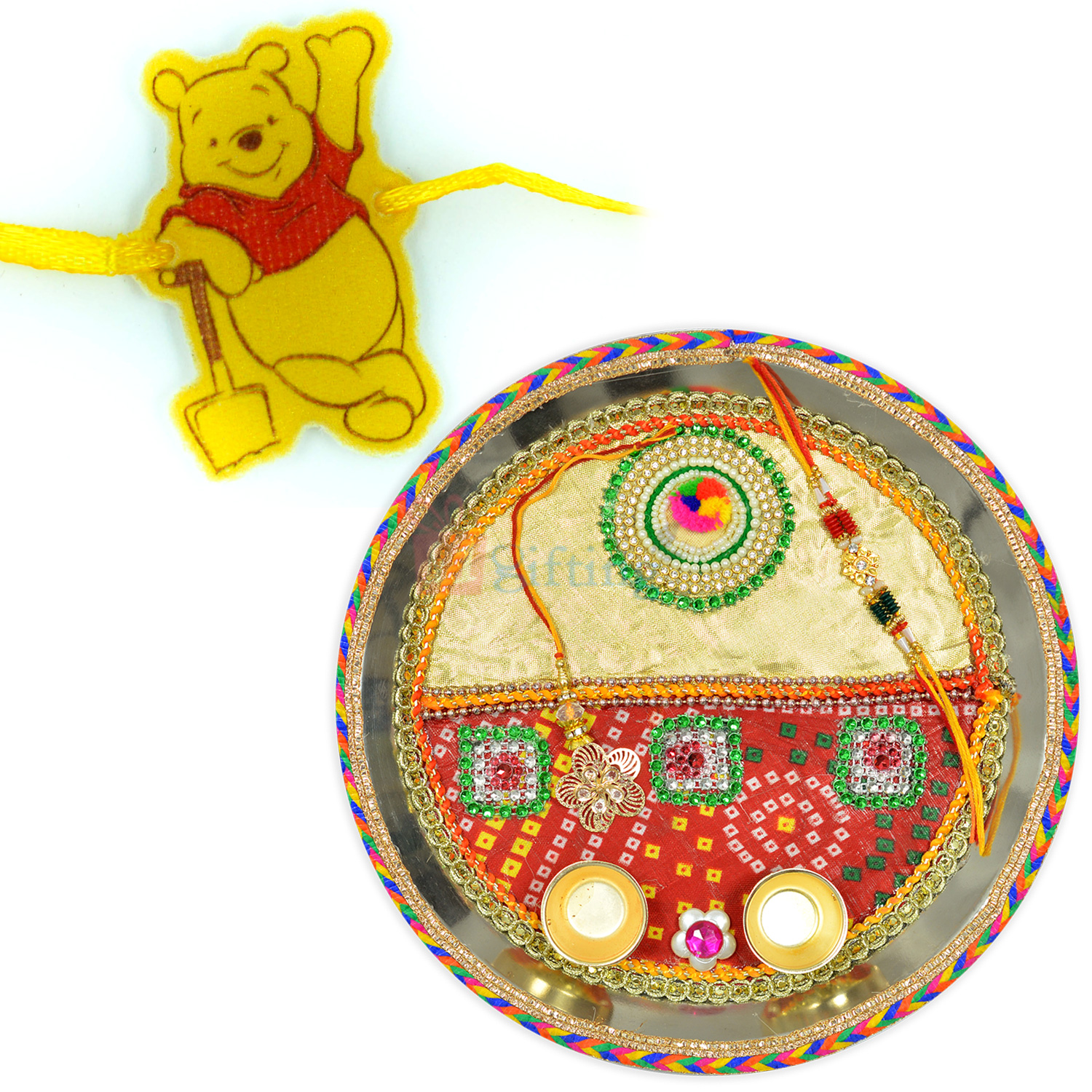 Mauli Work Chunri Fancy Work Designer Rakhi and Kids Rakhi Hamper