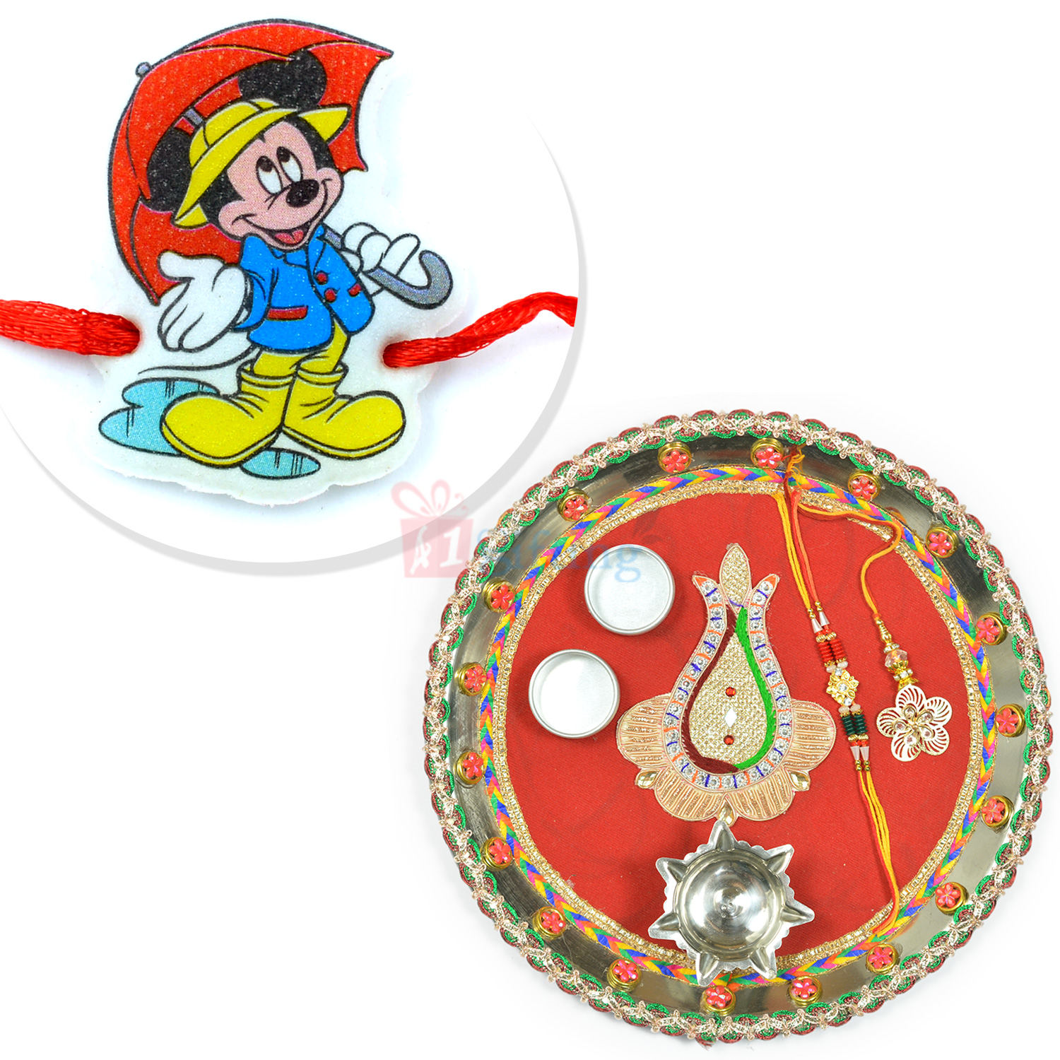 Exclusive Gotta Work Designer Rakhi Thali with Micky Kids Rakhi Hamper