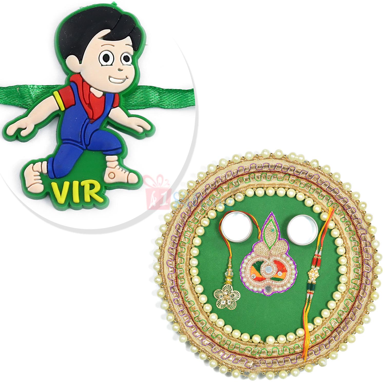 VIR Kids Rakhi with Pearl Special Designer Rakhi Pooja Thali Hamper