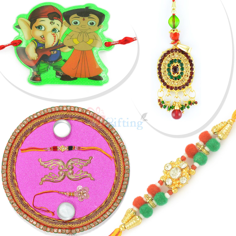 Designer Rakhi Pooja Thali Bhaiya Bhabhi Kids Rakhi Hamper