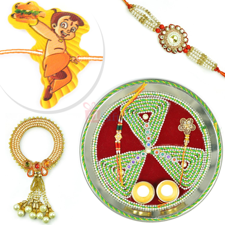 Designer Tirangi Rakhi Puja Thali Pearl BB n Kids Rakhi Combo