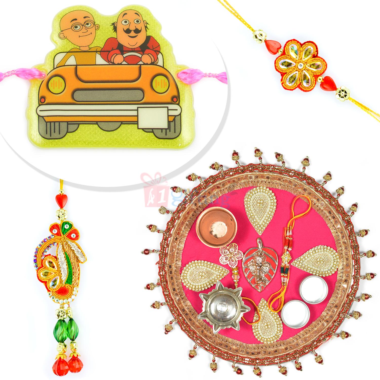 Leafy Designer Ganesha Jhoomer Rakhi Thali Family Hamper