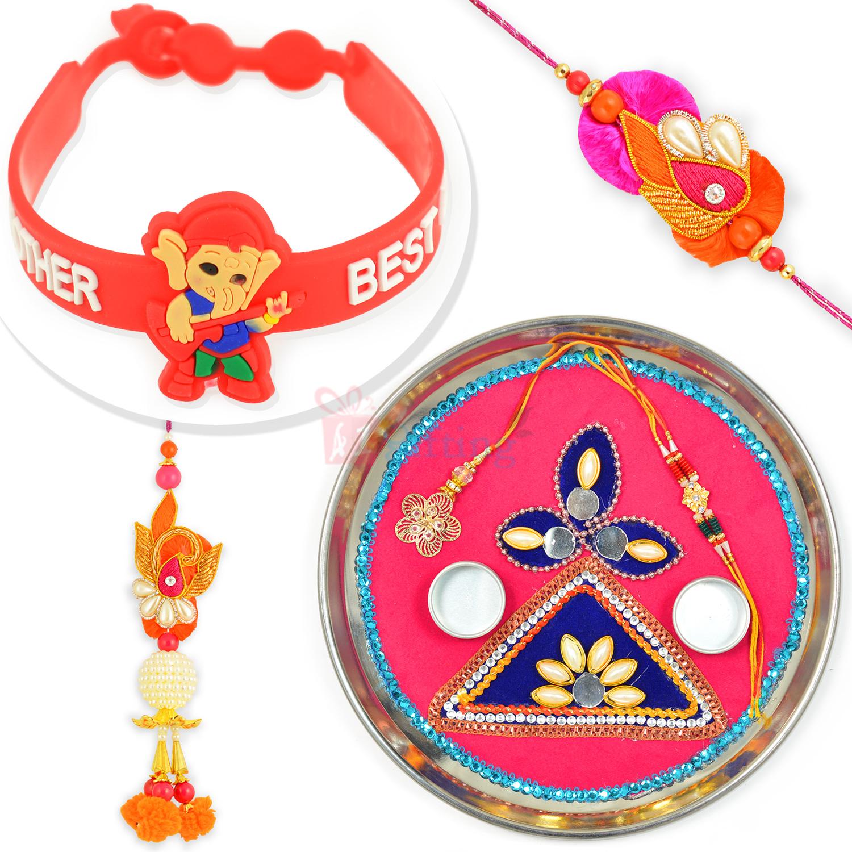 Pink n Blue Designer Rakhi Pooja Thali with BB Rakhi n Kids Rakhi Combo