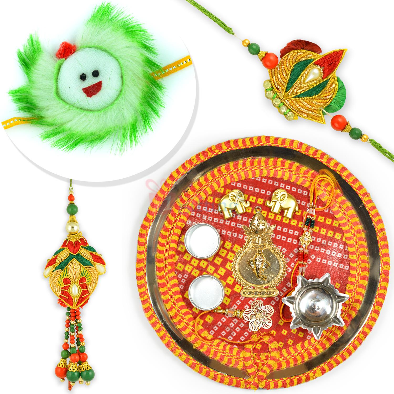 Designer Mauli Theme Rakhi Thali n Bhaiya Bhabhi Rakhi with Kids Rakhi Set