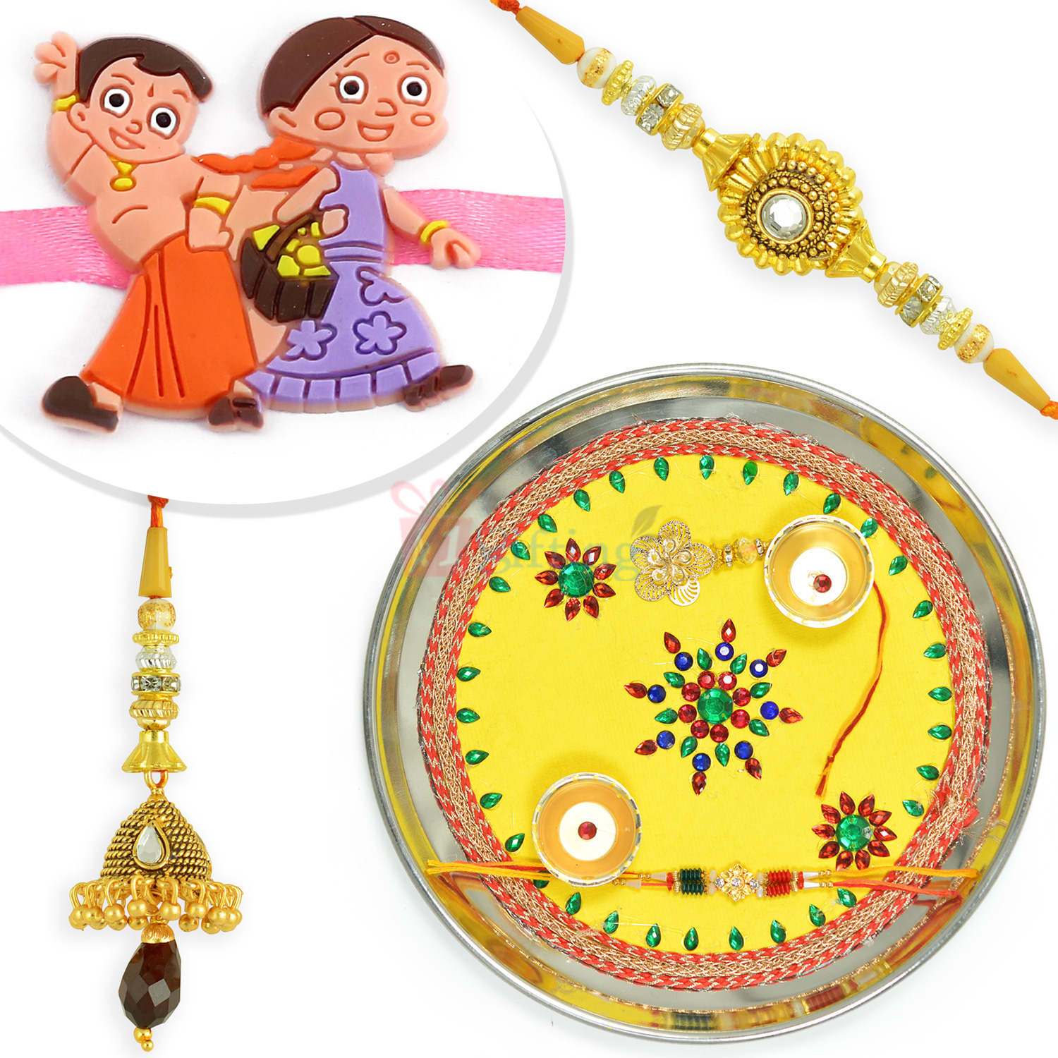 Designer Painted Rakhi Pooja Thali Hamper with BB Rakhi Set n Kids Rakhi