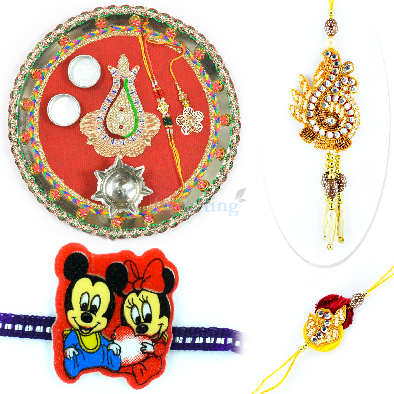 Traditional Chuda Rakhi with Kids Rakhi and Rakhi Pooja Thali