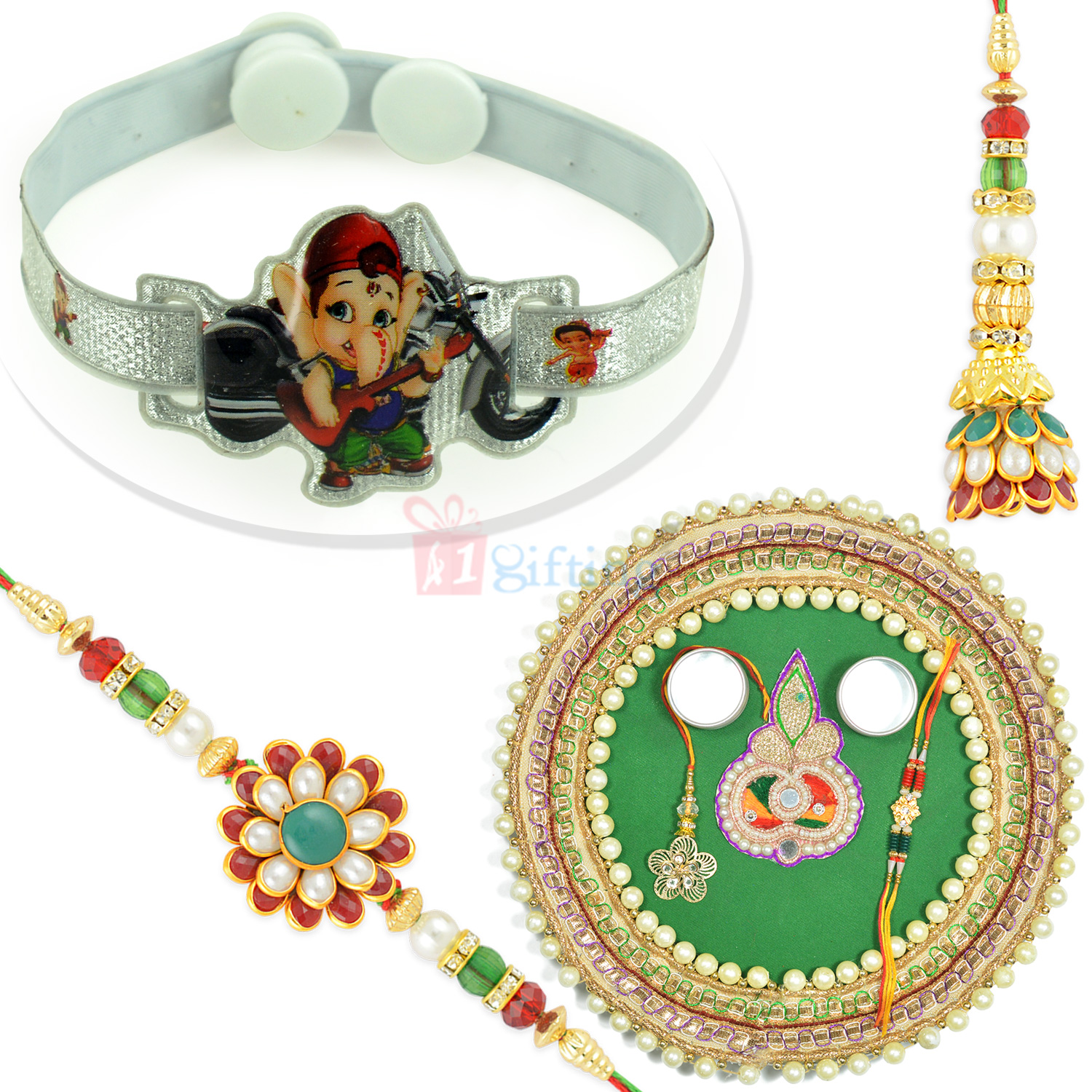 Amazing Pearl Pooja Thali with Pachi Worked Pair and Kids Rakhi